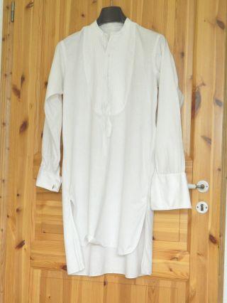 Antikes Herrenhemd Gr.  38 Weiß Smokinghemd Mit Monogramm C.  H.  True Vintage Bild