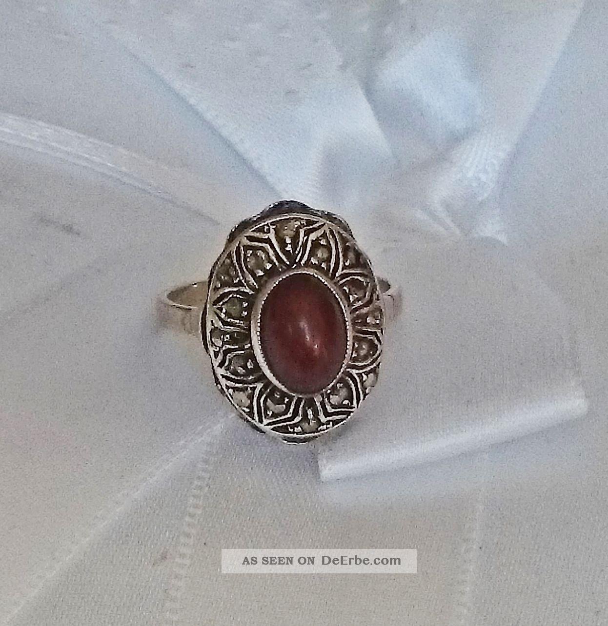 Art Deco Silberring 835 Silber Mit Steinbesatz,  Markasiten Gr.  50 / 4,  6g (735) Schmuck nach Epochen Bild