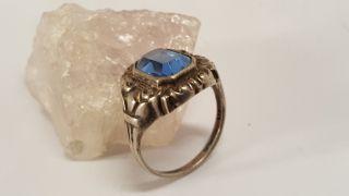 Jugendstil Damen Ring Silber 800 Elegant Mit Blauer Stein Antik Bild