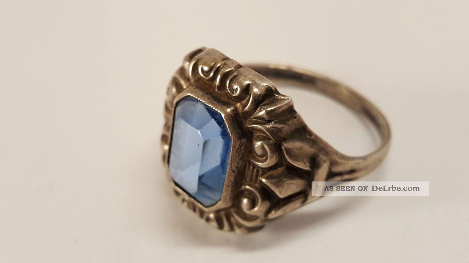 ... Damen Ring Silber 800 Elegant Mit Blauer Stein Antik Ringe Bild 1