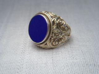 Jugendstil Ring Siegelring Massiv Silber Vergoldet Lapislazuli Platte Oval 16,  9g Bild