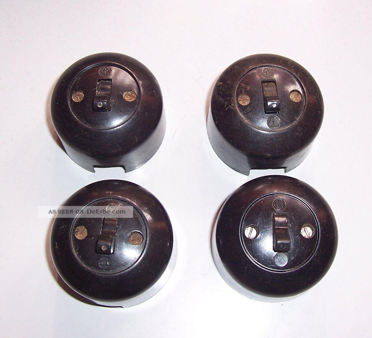 4x alte bakelit ika lichtschalter kippschalter loft vintage bauhaus aufputz e69. Black Bedroom Furniture Sets. Home Design Ideas