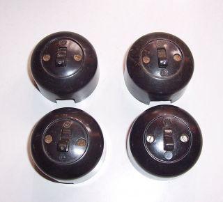 4x Alte Bakelit Ika Lichtschalter Kippschalter Loft Vintage Bauhaus Aufputz (e69 Bild