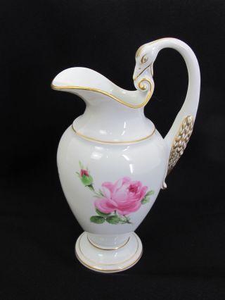 Meissen Porzellan Schwanenhals Rose Goldrand MilchkÄnnchen Bild