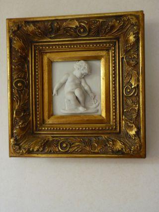 Perfugium Regibus Marmorrelief Bild Engel Gerahmt Marble Cherub Plaque Framed Bild