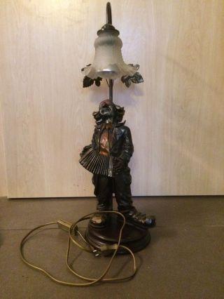 Tischlampe Clown Mit Akkordeon Claudio Vivan,  Kunstguß Alter Unbekannt Bild