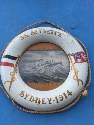 Antiker Maritimer Rahmen Rettungsring Sydney 1914 Deutsches Reichsflagge Selten Bild