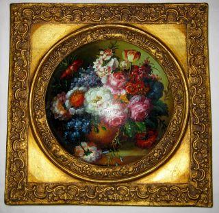 Altes Wachsbild Bild Auf Holzplatte Mit Runden Blumenmotiv Bemalt Herrausstehend Bild
