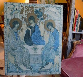 Dreifaltigkeit Andrej Rublev Kunstdruck Auf Holz Tretjakow Galerie Ikone Bild