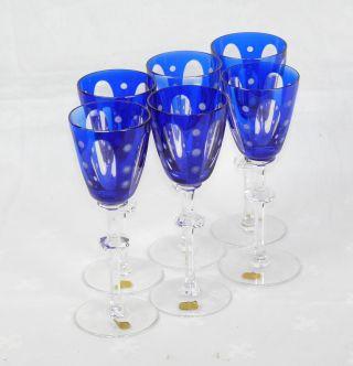 6 Schwere Römer Weingläser Gläser Royalblau Bleikristall Handgeschliffen Blau Bild