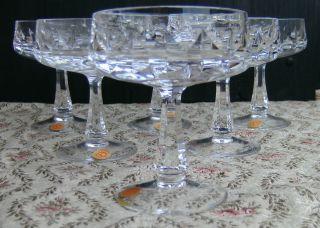 6 Bleikristall Sektschalen 30 Lead Cristall,  Geschliffen,  Hand Cut W.  Germany Bild
