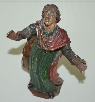 Antike Heiligen Figur Skulptur Schnitzerei Volkskunst Jesus Christus Bild