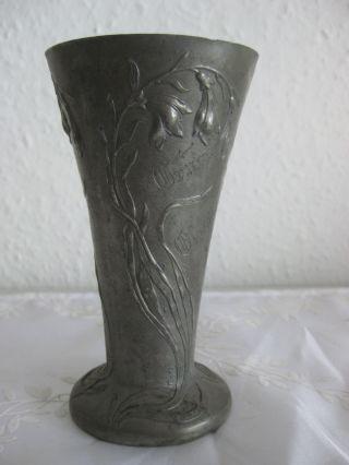 Antike Jugendstil Zinnvase Florales Dekor / Andenkenvase Bild