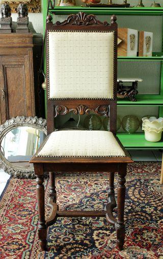 Ess Zimmer Stuhl - Weisser Bezug - Floral Dekor - Art Deco Jugendstil Chair Bild
