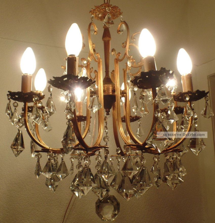 messing kronleuchter kristallbehang 8 flammen antik. Black Bedroom Furniture Sets. Home Design Ideas