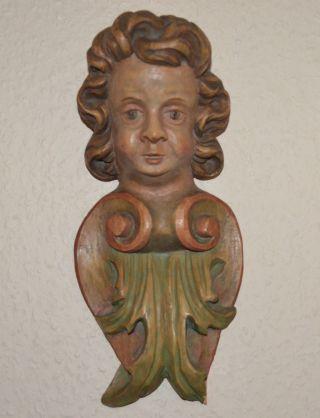 Antiker Barock Engel/putto/putte Schnitzerei Wandengel Bild