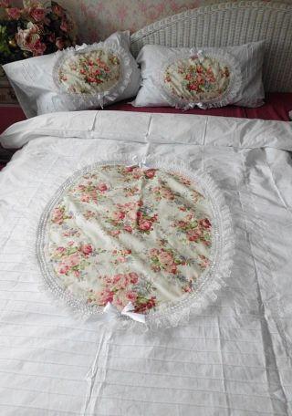 Eine 4 - Teilige BettwÄsche Rosenmedaillon Shabby Chic Vintage Landhaus Bild