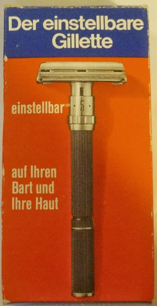 Der Einstellbare Gillette 60er Rasierhobel Nassrasierer Vintage & Ovp Bild