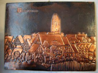 Kupferbild Spaichingen Mit Wappen Und Stadtansicht,  Signiert Gm 01 - Kupfer Getri Bild