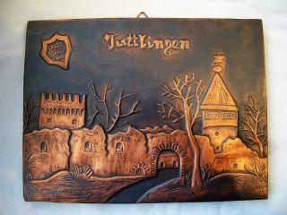 Kupferbild Tuttlingen Mit Wappen Und Ruine Honberg,  Signiert Gm 01 Kupfer Getrie Bild