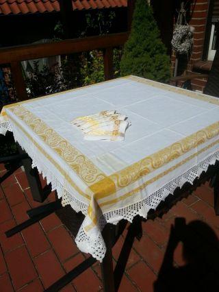 Tischdecke Mit Spitze,  Handarbeit,  Weiß/gold,  Monogramm,  6 Servietten Bild