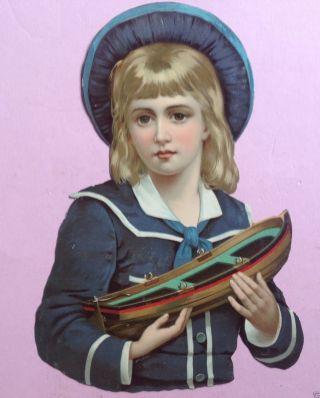 3v4: 24cm Gr.  Oblate Glanzbild Knabe Matrosenanzug Spielzeug Blechschiff 1890 Bild