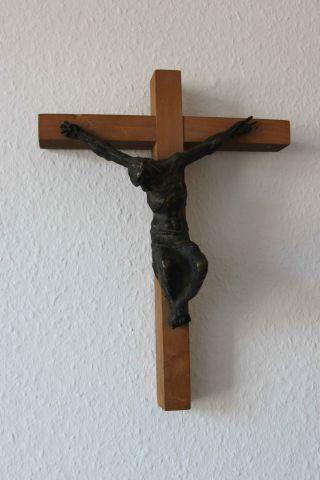 Kreuz Kruzifix Holz Bronze Bild