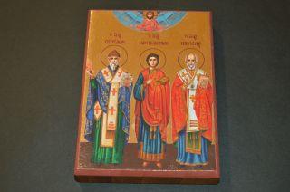 Ikone Heiligen Spiridon Nikolaus Panteleon Geweiht 9,  0x12,  5x2,  0cm Bild