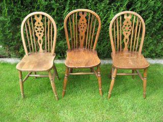 3 Antike Englische Windsor - Wheelback - Landhausstühle - Bild