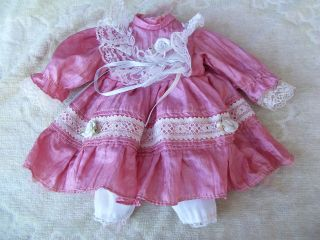 Alte Puppenkleidung Pink Silky Dress Outfit Vintage Doll Clothes 30 Cm Girl Bild