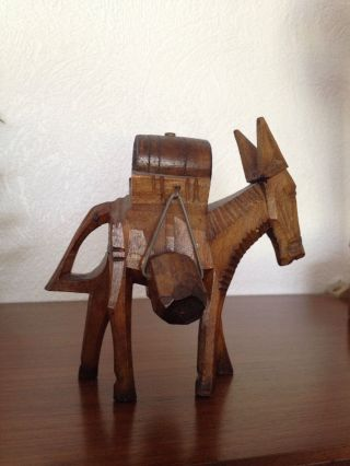 Skulptur Holz Esel Maultier Spanien 19.  Jahrhundert Unikat Figur Tier Design Rar Bild