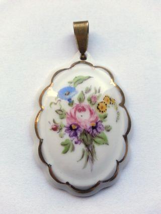 Porzellan Anhänger Handbemalt Blumen Bild