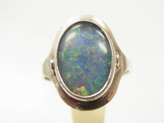Schöner Opal Ring 925 Silber Mit Opaldoublette Sign.  70 Iger Jahre Bild