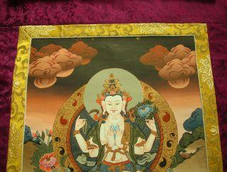 Buddha Thangka Avalokiteshvara Chenrezig Tibet In Brokat 93x53cm Bild