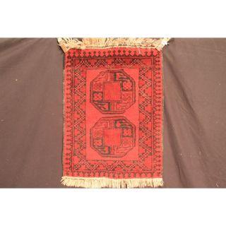Antiker Handgeknüpft Orient Teppich Afghan Rug Carpet Tappeto Rug Wolle 70x90cm Bild