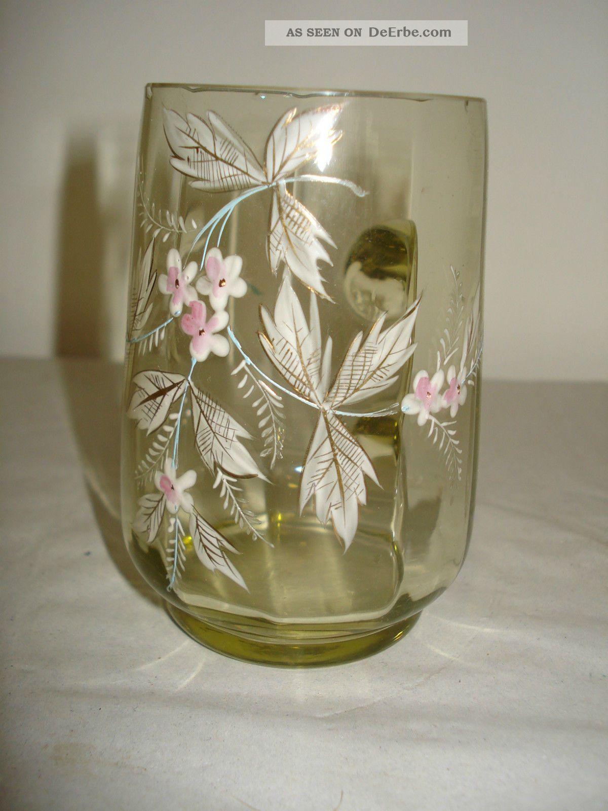 Becherglas Um 1880 - Grün - Emaille Bemalung Mit Blumen - Optisch Geblasen /glas Sammlerglas Bild