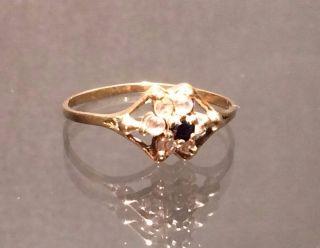 Antiker Ring Mit Saphir U.  Zirkonia Blumig 14 K/585er Gelbgold Gr.  54 Bild