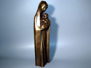 Alte Große 3,  35 Kg Schwere Madonna - Figur Mit Jesus - Kind Bronze Messing Skulptur Bild