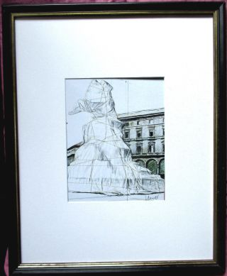Christo Wrapped Monument To Leonardo Handsigniert,  26x20,  Rahmen,  Signed Milan Bild
