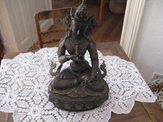 Tara Buddha Göttin Messingfigur Statue Skulptur Tibet Nepal Sehr Schwer Fundus Bild