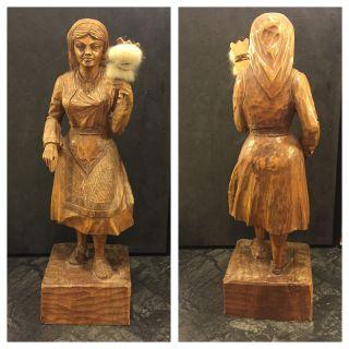 Holzfigur Frau In Tracht Holz Figur Höhe Ca.  30 Cm Bild