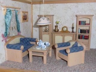 Wohnzimmer - Einrichtung 6tlg.  Holz Landhaus - Stil Bodo Hennig Für Puppenstube Bild