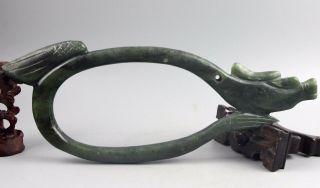 Chinese Jade Carving Dragon Statue Long 27cm Bild