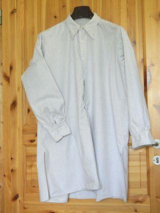 Altes Herren Hemd Gr.  40 Baumwollflanell Weiß/lila Bitte Maße Beachten Bild