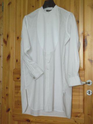 Altes Herren Hemd Frackhemd Gr.  39 Wappen - Wäsche Bw Weiß Bitte Maße Beachten Bild