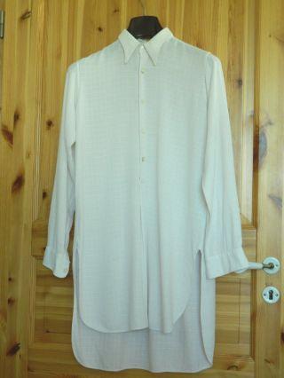 Altes Herren Hemd Gr.  37 Bw Eierschalfarben Bitte Maße Beachten Bild