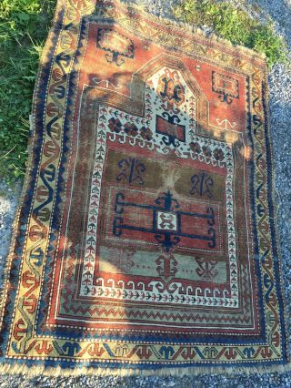 Sehr Alter Handgeknüpfter Perserteppich Antique Carpet Bild