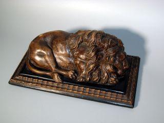 Antike Holz - Figur Geschnitzt Löwe Skulptur Schnitzerei 19.  Jh.  Lion Wood Carving Bild