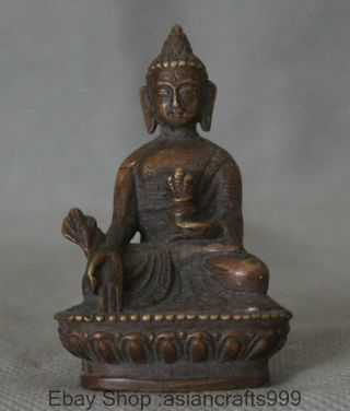 Alten Tibet Lila Bronze Männer La Medizin Buddha Medizinischen Gottes - Statue Bild