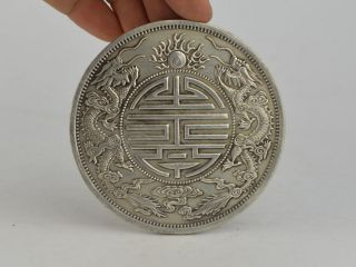 9 Cm Collectible Decorated Old Tibet Silver Carving Dragon Commemorative Coin Bild